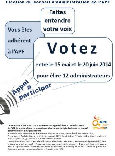 Image de l'appel au vote au CA de l'APF, jpg