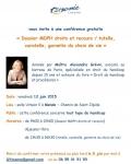 Affiche conférence Trisomie21, Dossier MDPH, tutelle, curatelle, choix de vie, jpg