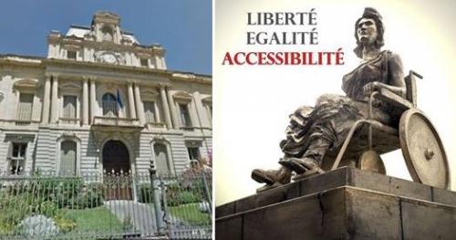 Image de la préfecture de Montpellier et de la statue de la liberté en fauteuil roulant