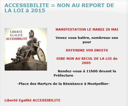 Image Appel à Manifester à Montpellier, APF, Accessibilité, jpg