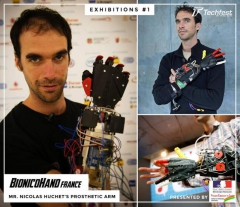 Photo Nicolas Huchet, main bionique, techfest, Bionic Hand