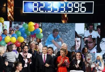 Photo tv du dernier chiffre du Téléthon 2014, png
