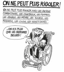 Dessin de Cabu on ne peut plus rigoler avec tout, heureusement on a les histoires belges,jpg jpg