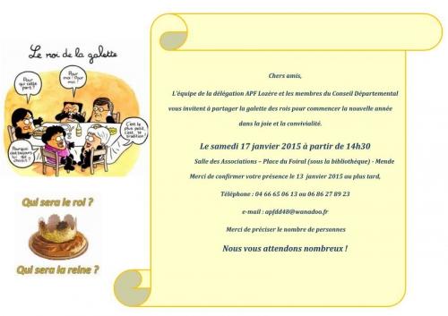 Invitation galette des rois 17 janvier 2015 14h30 Mende, jpg