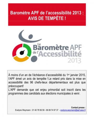 APF, Baromètre accessibilité 2013