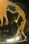 Géras fils de Nyx, personnification de la vieillesse, détail d'un pélikè attique à figures rouges, v. 480–470 av. J.-C., jpg