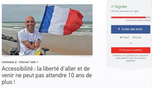 Capture écran : Pétition APF Accessibilité, 220.020 signataires, jpg