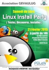 Affiche Install party Linux, 21 février, Mende, jpg