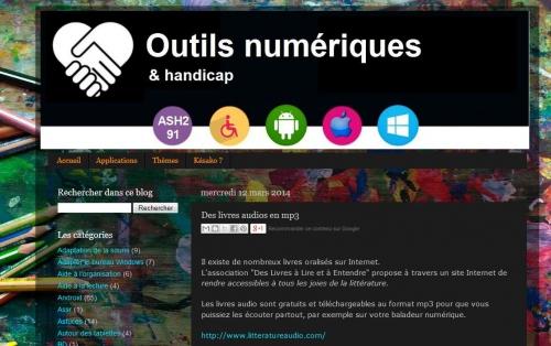 """Capture écran """"outils numériques & handicap"""", jpg"""