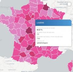 Capture écran Carte déserts médicaux la Gazette des Communes, jpg