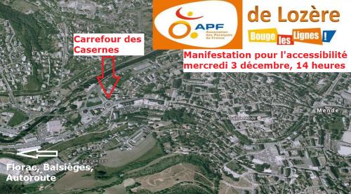 Bannière appel Manifestation pour accessibilité, Mende 3 décembre ,14 h, carrefour des casernes, jpg