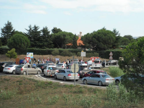 Photo blocage rond-point Argelès sur mer, jpg