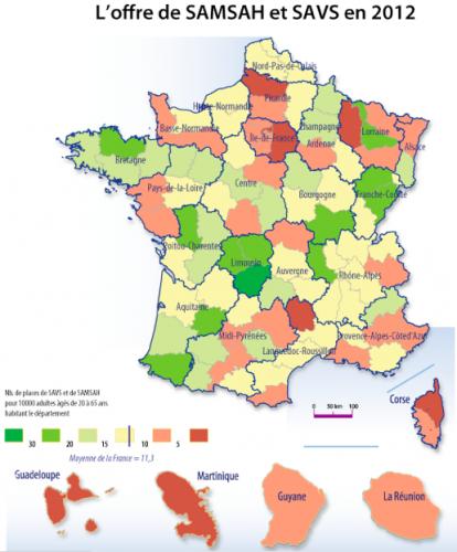 SAMSAH, SAVS, Disparités régionales, synthèse départements