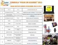 Tombola APF 48 2013, Pour un sourire 2013,