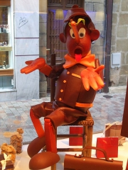 Photo de Pinocchio en chocolat, chocolatier Lamy,Brive la gaillarde, photo de Cricri, jpg