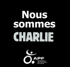 Affiche noire : nous sommes tous Charlie l'APF aussi, jpg