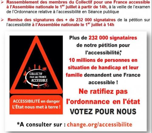 Affiche Collectif pour une France Accessible , Plus de 232.000 signataires de notre pétition pour l'accessibilité, 10 millions de personnes en situation de handicap demandent une France Accessible