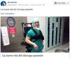 Avvenire.it  Marco Dolfin chirutgien paraplégique dans son appareil qui le tient debout, jpg.JPG